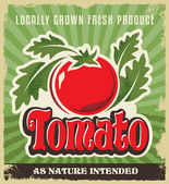 Retro tomato vintage advertising poster - Metal sign and label design Removable texture applied Vector illustration for fresh tomatoes