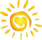 Letní horké abstraktní slunce se srdcem