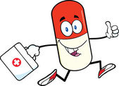 Pill Capsule Cartoon Character Running With A Medicine Bag