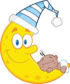 Ragazzo carino bambino afro-americano dorme sul personaggio dei cartoni animati luna sorridente
