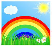 Summer landscape with a rainbow the blue sky the sun cloud and a green grass vector illustration