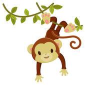Roztomilé karikatury opice visící na liánu. příklad, kde umění vektoru klipu