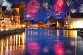 Szilveszteri tűzijáték bemutatás Gdanskban