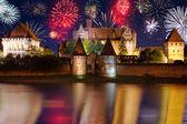 New Years firework display in Malbork