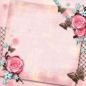 Grußkarte mit Blumen, Schmetterling auf rosa Papier Vintage zurück