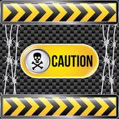 Caution tape over black background vector illustration