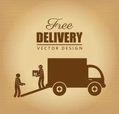 Free delivery label over vintage background vector illustration