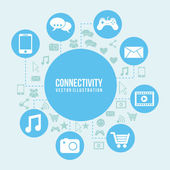 Connectivity icon over blue and icon background vector illustration