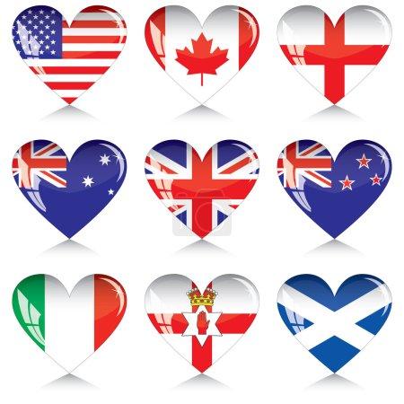 Постер, плакат: Сердца англо говорящих стран, холст на подрамнике