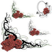 Set of floral design elements with roses