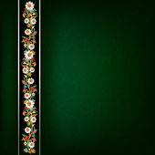 Abstract grunge dark green background with floral ornament