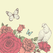 Vintage flower background with bird Beautiful invitation card with rose pigeon and butterfly