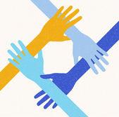 Ruce týmové práce. připojování koncept. vektorové ilustrace