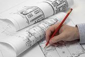 Architekti plánování na modrotisk