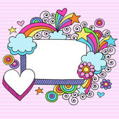 Groovy Psychedelic Rainbow 3D Rectangle and Heart Picture Frame Border Doodles- Hand Drawn Back to School Doodle Vector Illustration Design