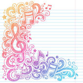 Music Notes G Clef Vector- Back to School Sketchy Notebook Doodles with Music Notes and Swirls- Hand-Drawn Vector Illustration on Lined Sketchbook Paper Background