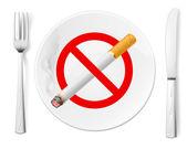 Symbol zákaz kouření na desku s vidličkou a nožem