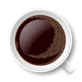 Mug of coffee Top view illustration on white background