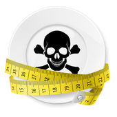 Plate with measuring tape and skull with crossed bones Diet concept