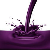Pouring of violet paint with splashes Bright illustration on white background