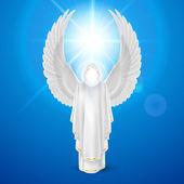 Bílý anděl proti modré obloze