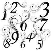 Floral font Numbers from 0 till 9