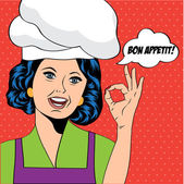 Pop art woman cook illustration in vector format