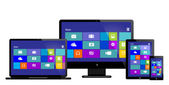 Laptop monitor tablet mobile with www on screen vector eps 10