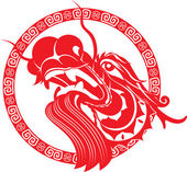 Red Chinese dragon head illustration with border