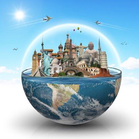 Постер, плакат: Travel the world monuments concept, холст на подрамнике