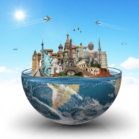 Постер, плакат: Travel the world monuments concept, холст на подрамнике