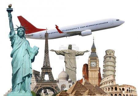 Постер, плакат: Travel the world monuments plane concept, холст на подрамнике