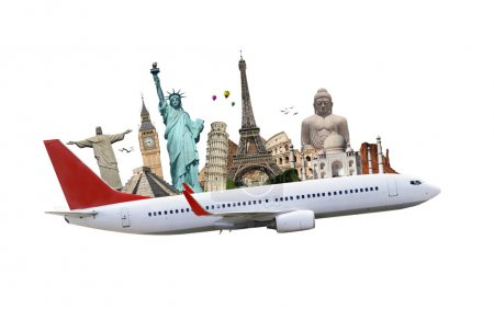Постер, плакат: Travel the world monuments plane concept, холст на подрамнике