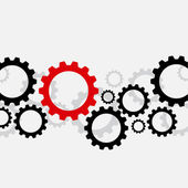 Background with black gears and one red