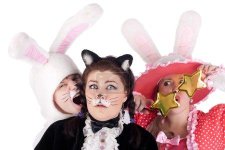 Постер, плакат: Trio actors in the costumes, холст на подрамнике