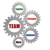 Team in silver grey gearwheels