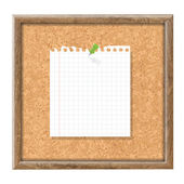 Cork Board With Blank Note Paper And Green Pin With Gradient Mesh Vector Illustration