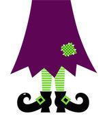 Retro Halloween boszorkány lábak elszigetelt fehér (zöld és lila