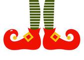 Christmas cartoon elfs legs isolated on white