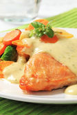 Chicken breast fillet with mixed vegetables and herb sauce