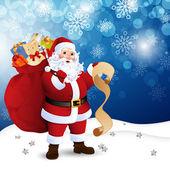 Vector Illustration of Santa Claus in a winter landscape