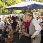 Постер, плакат: Tango dancers performs in San Telmo Buenos Aires Argentina