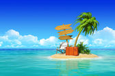 Tropical island with chaise lounge, suitcase, wooden signpost, p