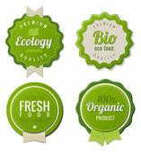 Eco Vintage Labels Bio template set Ecology theme Retro logo template design Extra High quality 3D Vector