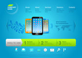 Website template: Product web promo Vector page Design. Smartphones.