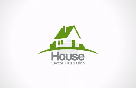 Logo House abstract real estate countryside. Realty icon.