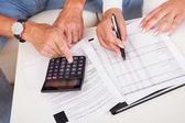 Vzrušený vzorný manželský pár dělá finance doma