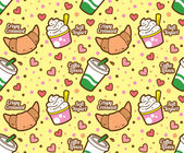 Food and beverage seamless background