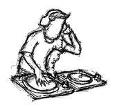 DJ playing turntable
