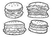 Set of hamburger isolated on white background